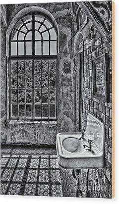 Dormer Bathroom Side View Bw Wood Print by Susan Candelario