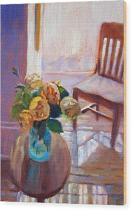 Dormer Light- Morning Light And Roses Wood Print