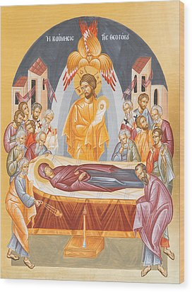 Dormition Of The Theotokos Wood Print by Julia Bridget Hayes