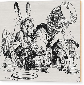 Dormouse In The Teapot Mad Tea Party Wood Print by John Tenniel