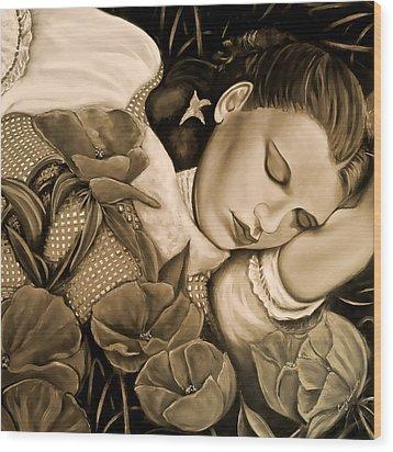 Dorothy's Sleep Sepia Wood Print