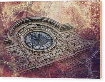 D'orsay Clock Paris Wood Print by Evie Carrier