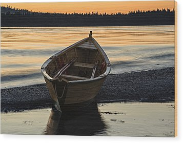 Wood Print featuring the photograph Dory At Dawn by Marty Saccone