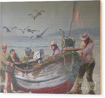Dory Fishermen Wood Print by Ray Mitchell