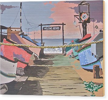 Dory Fishing Fleet -newport Beach Wood Print