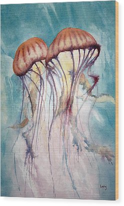 Dos Jellyfish Wood Print by Jeff Lucas