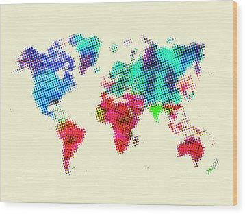Dotted World Map 2 Wood Print by Naxart Studio