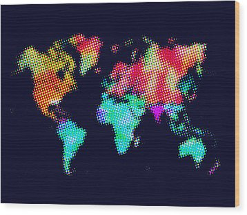 Dotted World Map 3 Wood Print by Naxart Studio