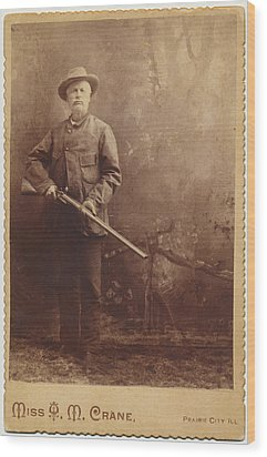 Wood Print featuring the photograph Double Barrel Shotgun Hunter by Paul Ashby Antique Image