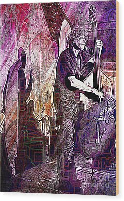 Double Bass Silhouette  Wood Print