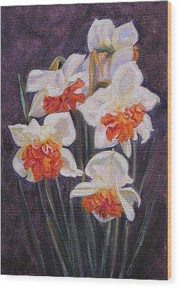 Double Daffodil Replete Wood Print