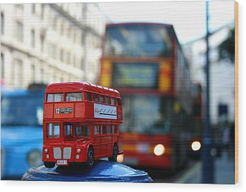 Double Deckers At Piccadilly Circus  Wood Print