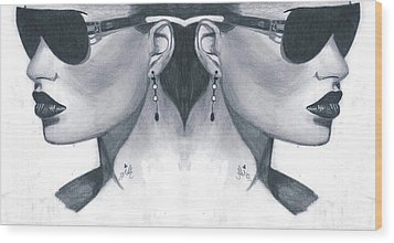 Double Face Wood Print by Bobby Dar
