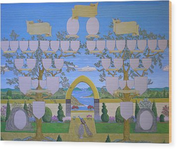 Double Family Tree Chart Mediterranean Garden Wood Print by Alix Mordant