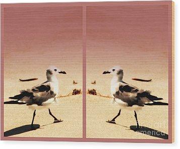 Double Gulls Collage Wood Print by Susanne Van Hulst