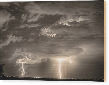 Double Lightning Strikes In Sepia Hdr Wood Print by James BO  Insogna