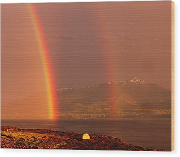 Wood Print featuring the photograph Double Rainbow by Karen Horn
