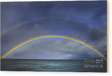 Double Rainbow Over Lake Tahoe Wood Print