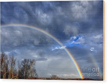 Double Rainbow Over Mountain Wood Print by Thomas R Fletcher