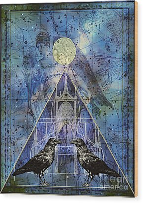 Double Raven Constellation Wood Print by Judy Wood