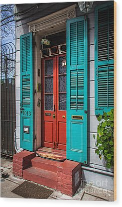 Double Red Door Wood Print by Perry Webster