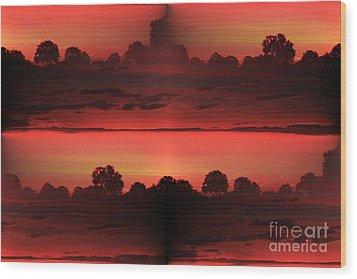 Double Red Sunrise Wood Print