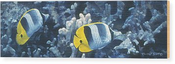 Double Saddleback Butterflyfish Wood Print by Randall Scott