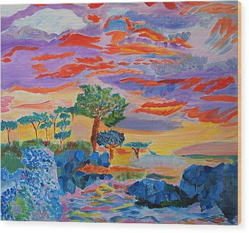Candy Coated Monterey Sunset Wood Print by Meryl Goudey