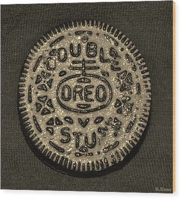 Double Stuff Oreo In Sepia Negitive Wood Print by Rob Hans