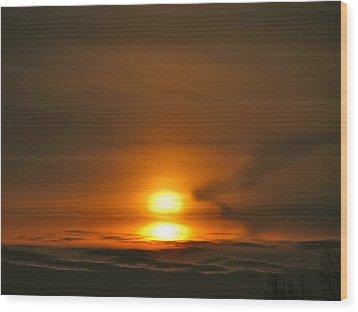 Double Sunrise Wood Print