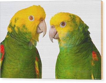 Double Yellow-headed Amazon Pair Portrait Wood Print