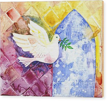 Dove Of Peace Wood Print by Shirin Shahram Badie