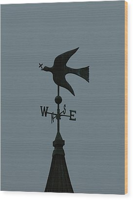Dove Weathervane Wood Print by Ernie Echols