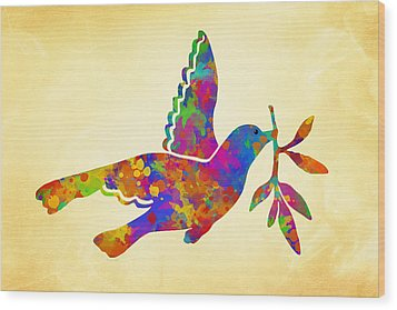 Dove With Olive Branch Wood Print