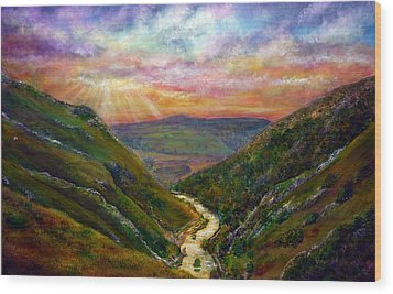 Dovedale Sunset Wood Print by Ann Marie Bone