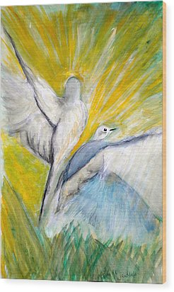 Doves At Sunrise Wood Print by Linda Waidelich