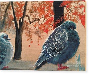 Wood Print featuring the drawing Doves Drawing by Maja Sokolowska