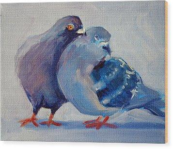 Doves Wood Print by Nancy Merkle