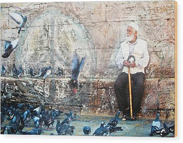 Wood Print featuring the photograph Doves Of Istanbul by Lesley Fletcher