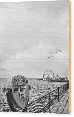 Down At The Pier Wood Print by Edward Fielding