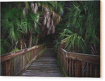 Down The Boardwalk Wood Print by Pamela Blizzard