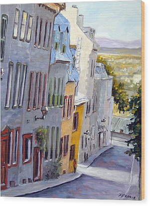 Down The Hill Old Quebec City Wood Print by Richard T Pranke