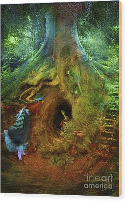 Down The Rabbit Hole Wood Print by Aimee Stewart