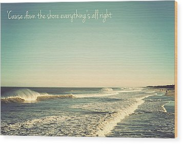 Down The Shore Seaside Heights Vintage Quote Wood Print