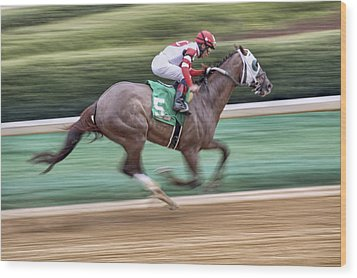 Down The Stretch - Horse Racing - Jockey Wood Print by Jason Politte