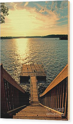 Down To The Fishing Dock - Lake Of The Ozarks Mo Wood Print by Debbie Portwood