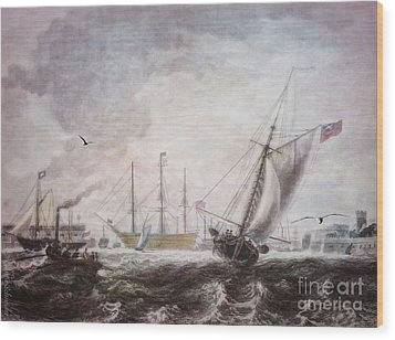 Down To The Sea In Ships Wood Print by Lianne Schneider