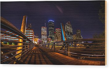 Down Town Houston From The Buffalo Bayou Bridge Wood Print