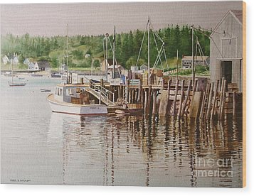 Wood Print featuring the painting Downeast Reflections by Karol Wyckoff