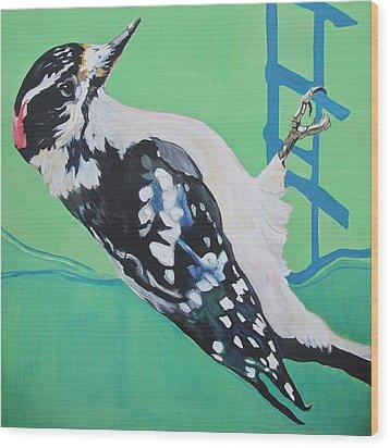 Downey Woodpecker Wood Print by Jamie Downs
